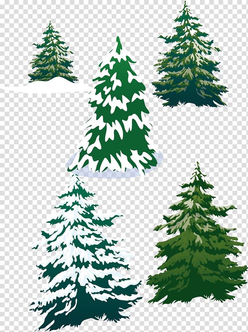 Pine tree illustration clipart image transparent Five pine trees illustration, snowy pine trees transparent ... image transparent