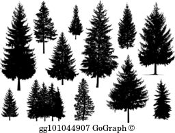 Pine tree silhouette clipart free clip transparent library Pine Trees Clip Art - Royalty Free - GoGraph clip transparent library