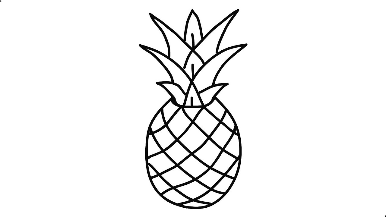 Pineapple clipart easy vector freeuse stock How to draw a pineapple step by step very easy and fast Pineapple Easy Draw  Tutorial vector freeuse stock