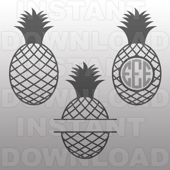 Pineapple clipart svg jpg royalty free stock Pineapple Monogram Designs SVG File Cutting Template-Clip Art jpg royalty free stock