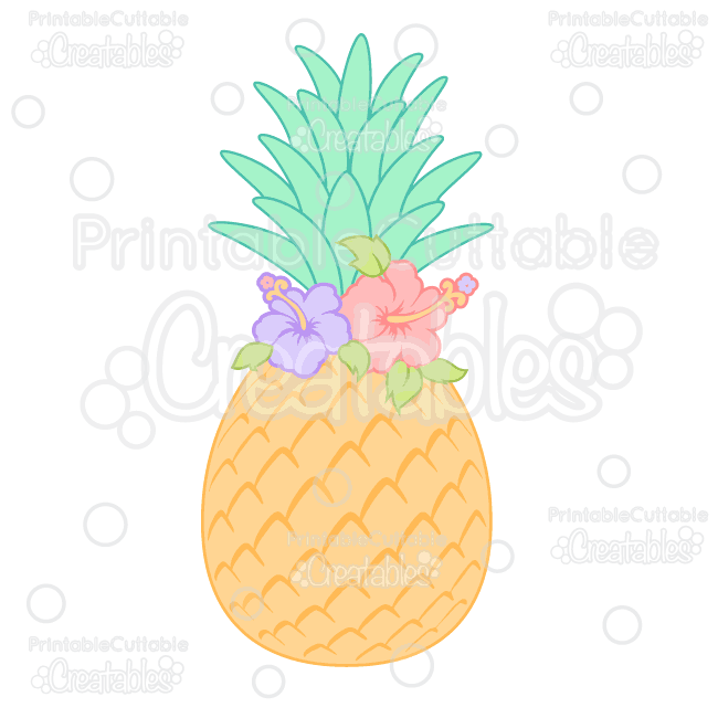 Pineapple clipart svg banner library stock Hibiscus Flower Pineapple SVG Cutting File & Clipart banner library stock