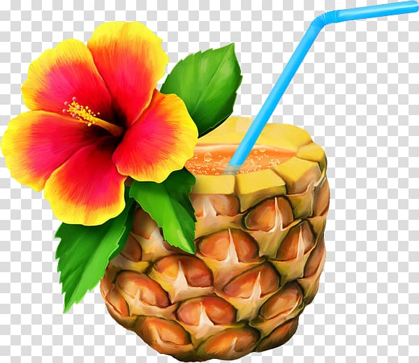 Pineapple drink clipart royalty free stock Orange and yellow hibiscus flower on pineapple juice art ... royalty free stock