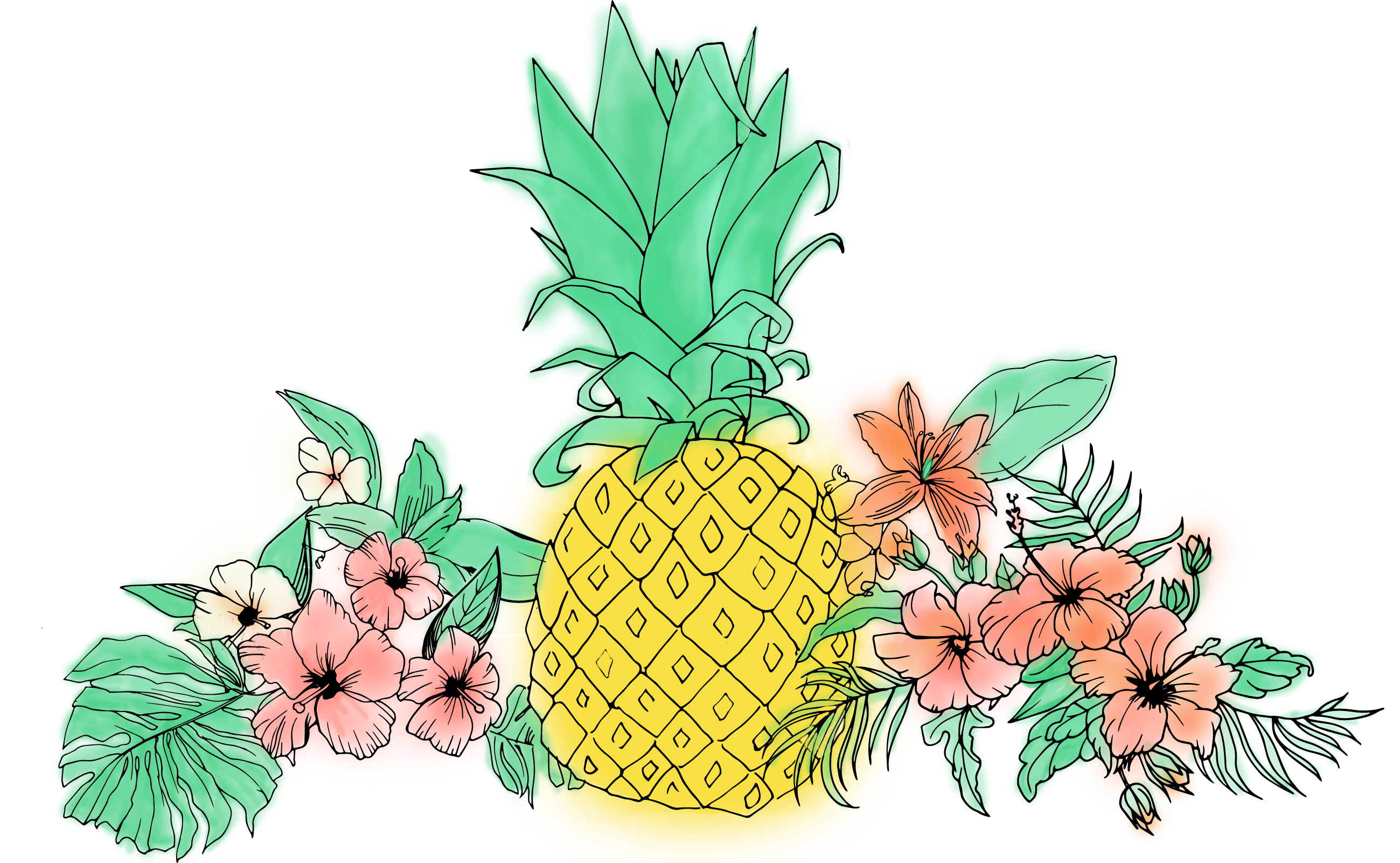 Pineapple flower clipart png free download Pineapple Fruit Flower Clip art - tropical flower 2599*1601 ... png free download