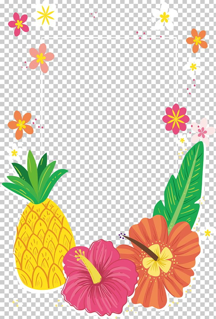 Pineapple frame clipart clip art black and white stock Tropical Colored Flower Decorative Frame PNG, Clipart, Clip ... clip art black and white stock
