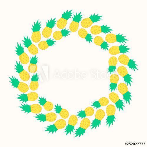 Pineapple frame clipart clipart royalty free library Cute summer pineapple frame with juicy fruits. Party border ... clipart royalty free library