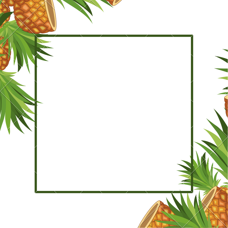 Pineapple frame clipart clip transparent Pineapple Fresh Fruit Frame - Icons by Canva clip transparent