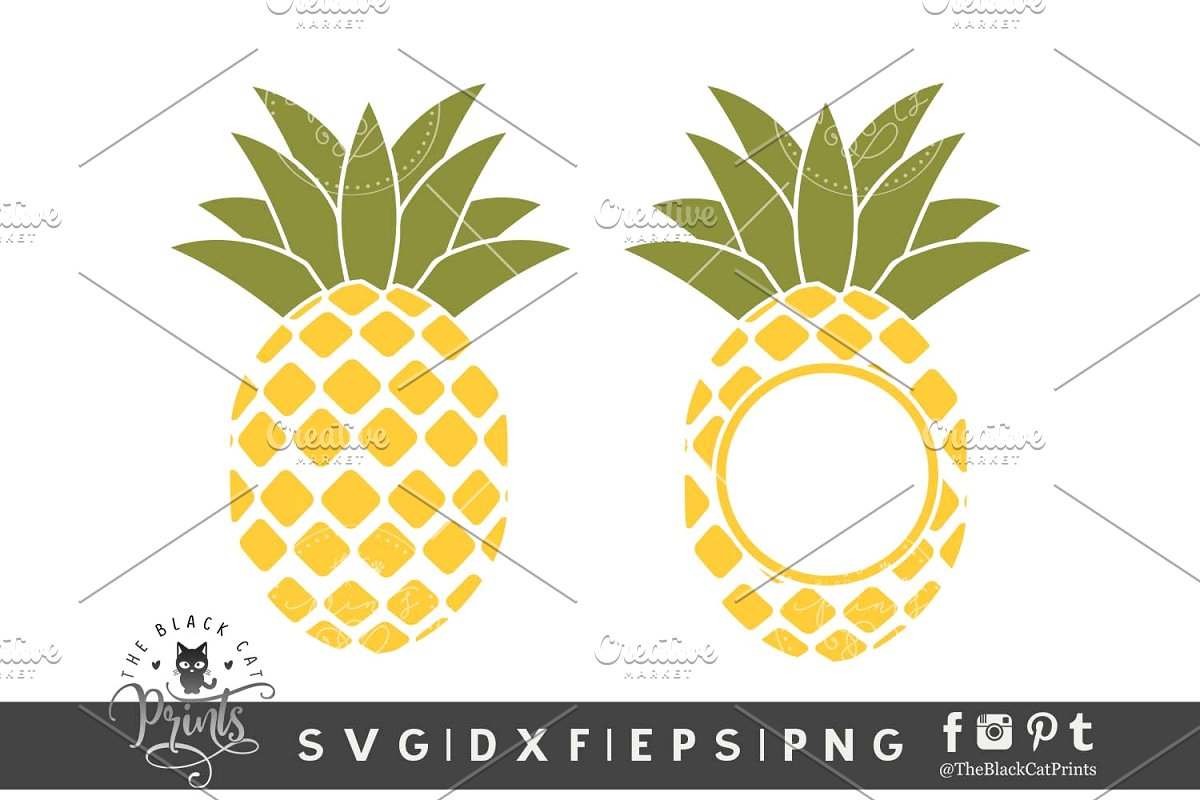 Pineapple monogram clipart clip free Pineapple Monogram SVG DXF EPS PNG clip free