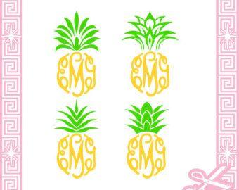 Pineapple monogram clipart clip stock Pineapple Top Monogram Frame Cut Files SVG / pdf / EPS ... clip stock