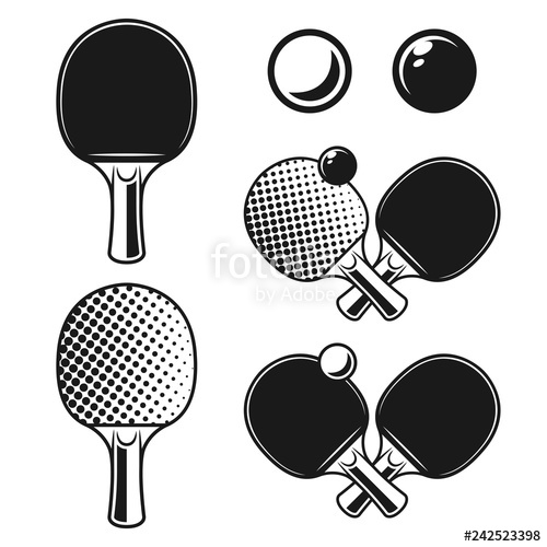 Ping pong clipart black and white royalty free png black and white Ping pong, table tennis vector monochrome objects\