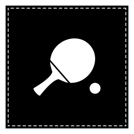 Ping pong clipart black and white royalty free png free download Ping pong paddle with ball. Black patch on white background ... png free download