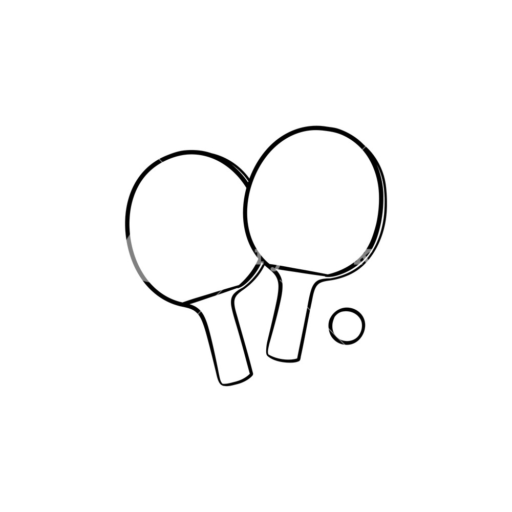 Ping pong clipart black and white royalty free clipart royalty free stock Ping-pong rackets and ball hand drawn outline doodle icon ... clipart royalty free stock