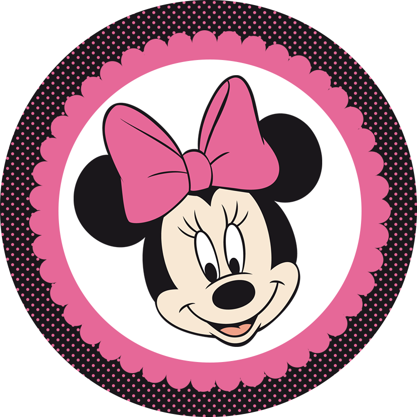 Pink and black candy apple clipart jpg black and white Minnie in Pink and Black: Free Printable Mini Kit | Mickey and ... jpg black and white