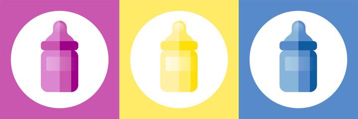 Pink and blue baby bottle clipart jpg stock Pink, yellow and blue baby bottle vector illustrations ... jpg stock