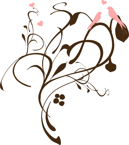 Pink and brown flower clipart vector freeuse library Birds On A Branch Pink And Brown Clip Art at Clker.com - vector clip ... vector freeuse library