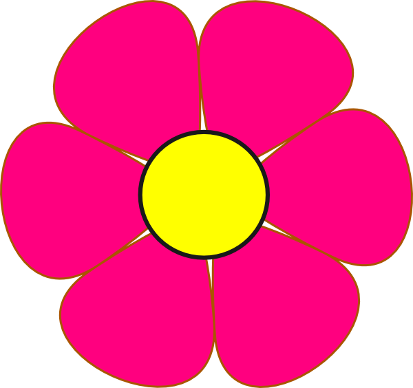Pink and brown flower clipart graphic black and white library Pink And Yellow Flower Clip Art at Clker.com - vector clip art ... graphic black and white library