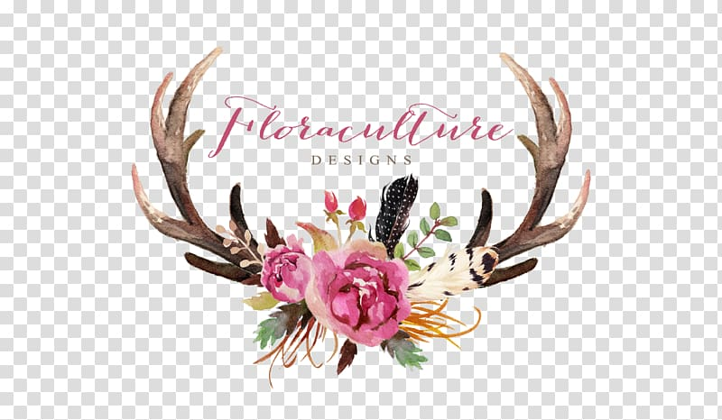 Watercolor antler clipart picture free download Brown antler with pink flowers, Deer Antler Flower Skull ... picture free download