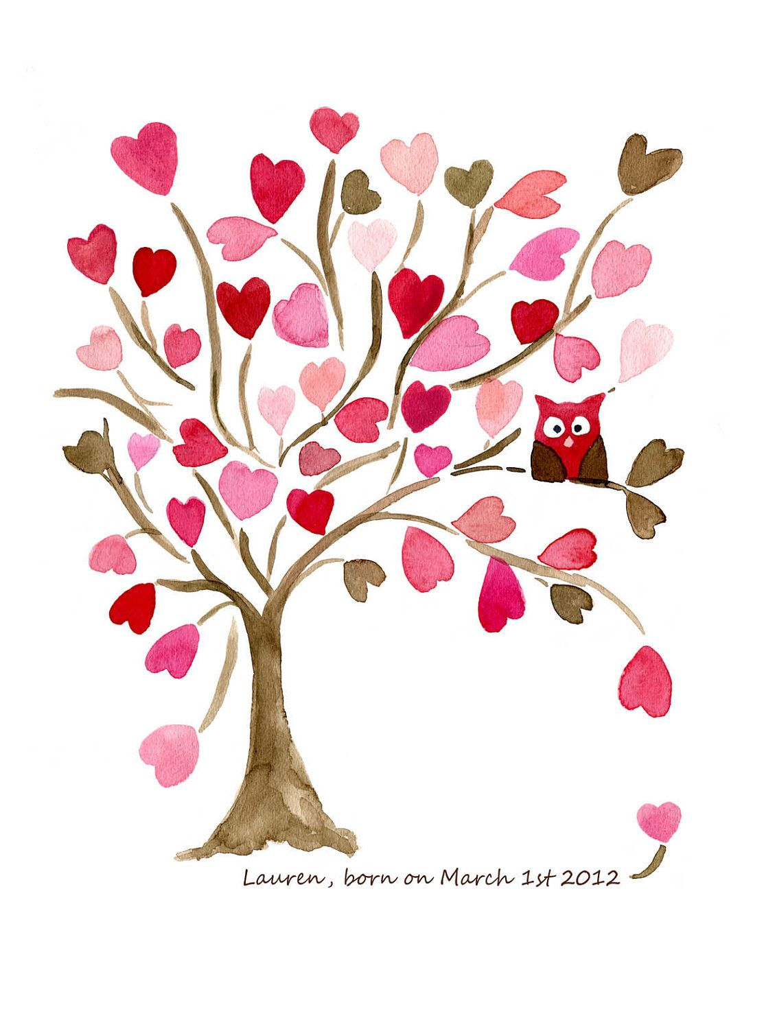 Pink and brown leaves clipart vector freeuse stock Owl on Hearts Tree art Print, Personalized print , Valentine ... vector freeuse stock