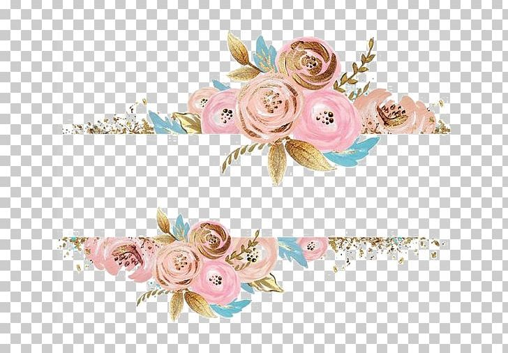 Pink and gold border clipart clip freeuse stock Pink Flowers Rose Dress Gold PNG, Clipart, Border, Border ... clip freeuse stock