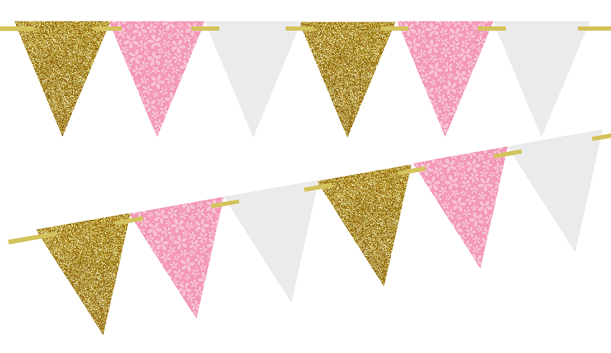 Pink and gold flag banner clipart png image black and white Pink And Gold PNG Transparent Pink And Gold.PNG Images ... image black and white