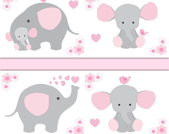 Pink and gray elephant baby shower clipart graphic freeuse Pink And Gray Elephant Clipart & Free Clip Art Images #2533 ... graphic freeuse