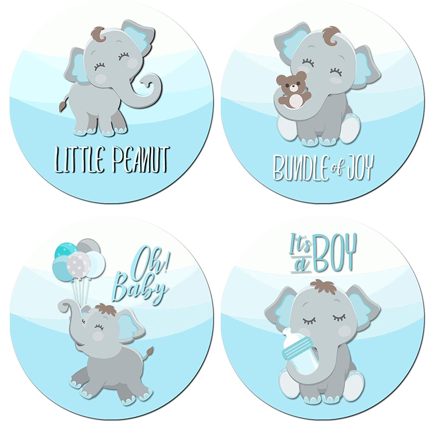 Pink and gray elephant baby shower clipart clip art transparent library Amazon.com: Elephant Baby Shower Stickers | Many Sizes ... clip art transparent library