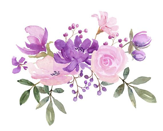 Pink and purple clipart clipart freeuse Fresh Springtime Flowers in Purple, Pink and Lavender ... clipart freeuse
