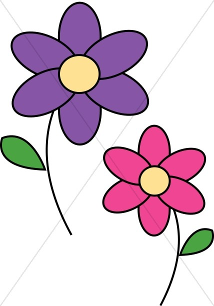 Pink and purple clipart banner transparent download Pink and Purple Daisies | Church Flower Clipart banner transparent download