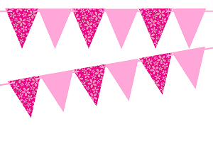 Pink and purple pennant banner clipart banner library Hot Pink Flower/Solid Pink 10ft Vintage Pennant Banner Paper Triangle  Bunting Flags for Weddings, Birthdays, Baby Showers, Events & Parties banner library