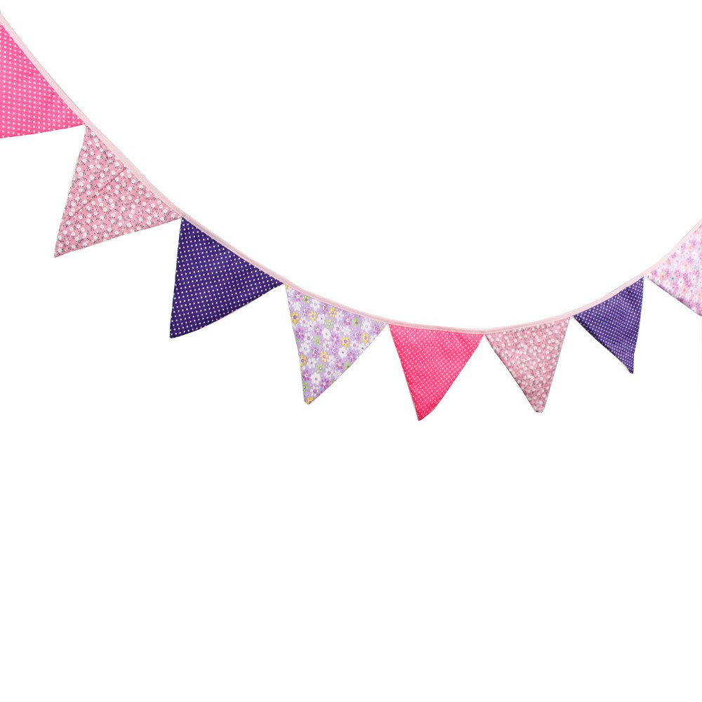 Pink and purple pennant banner clipart jpg library stock US $5.44 8% OFF Aliexpress.com : Buy 1pcs 3.3M Length 12 Flags Purple Red  Rose Flower Dots Children Birthday Cloth Banner Decorations Home Festival  ... jpg library stock
