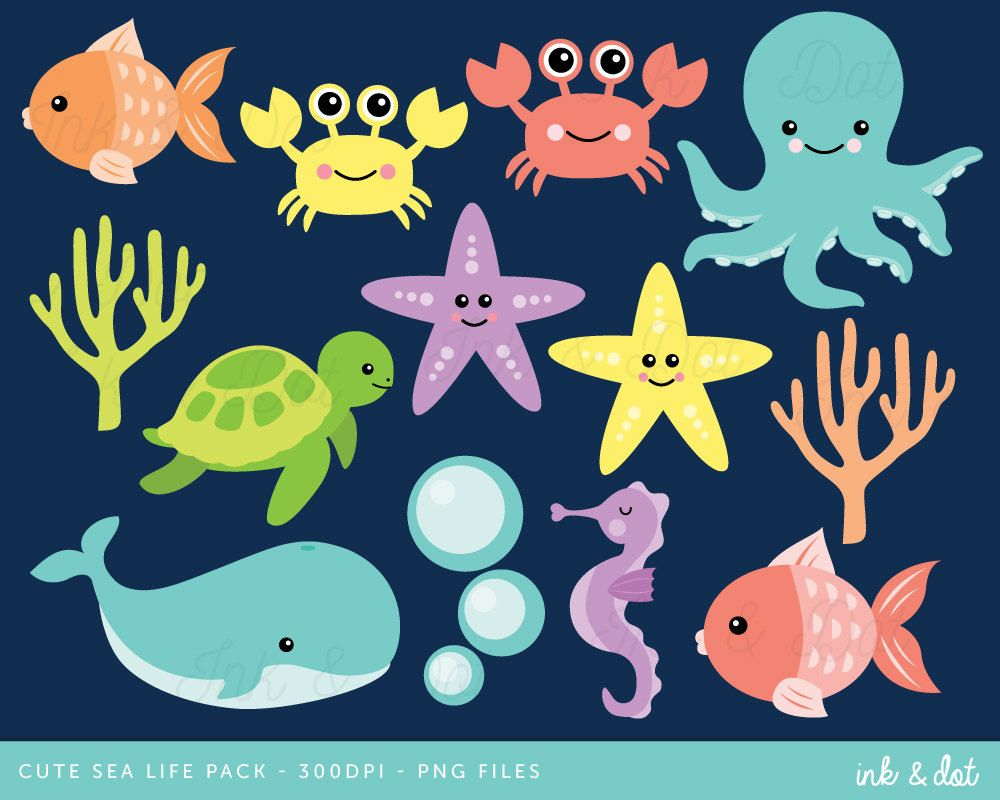 Pink and turquoise sea items for beach cliparts clip art black and white stock Ocean Clip Art, Nautical Clipart, Sea Life Clipart, Whale ... clip art black and white stock
