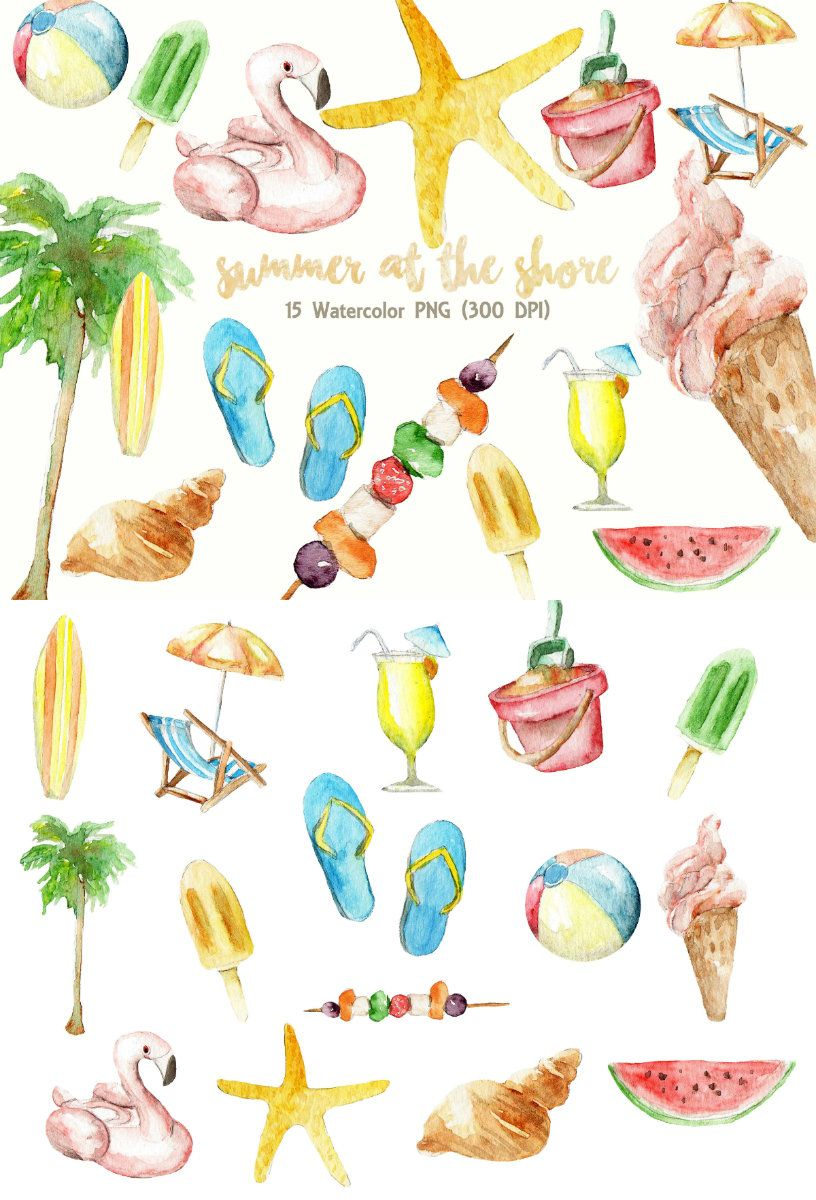 Pink and turquoise sea items for beach cliparts vector Summer Clipart Watercolor Digital Download Beach Party ... vector