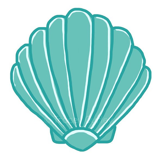 Pink and turquoise sea items for beach cliparts jpg black and white library Turquoise Scallop Shell - Original art download, 2 files ... jpg black and white library