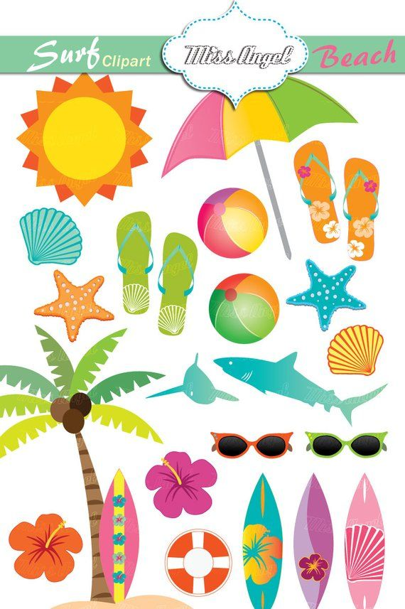 Pink and turquoise sea items for beach cliparts clipart royalty free Hawaiian Surf Clipart Summer Beach Clip Art Surfboards ... clipart royalty free
