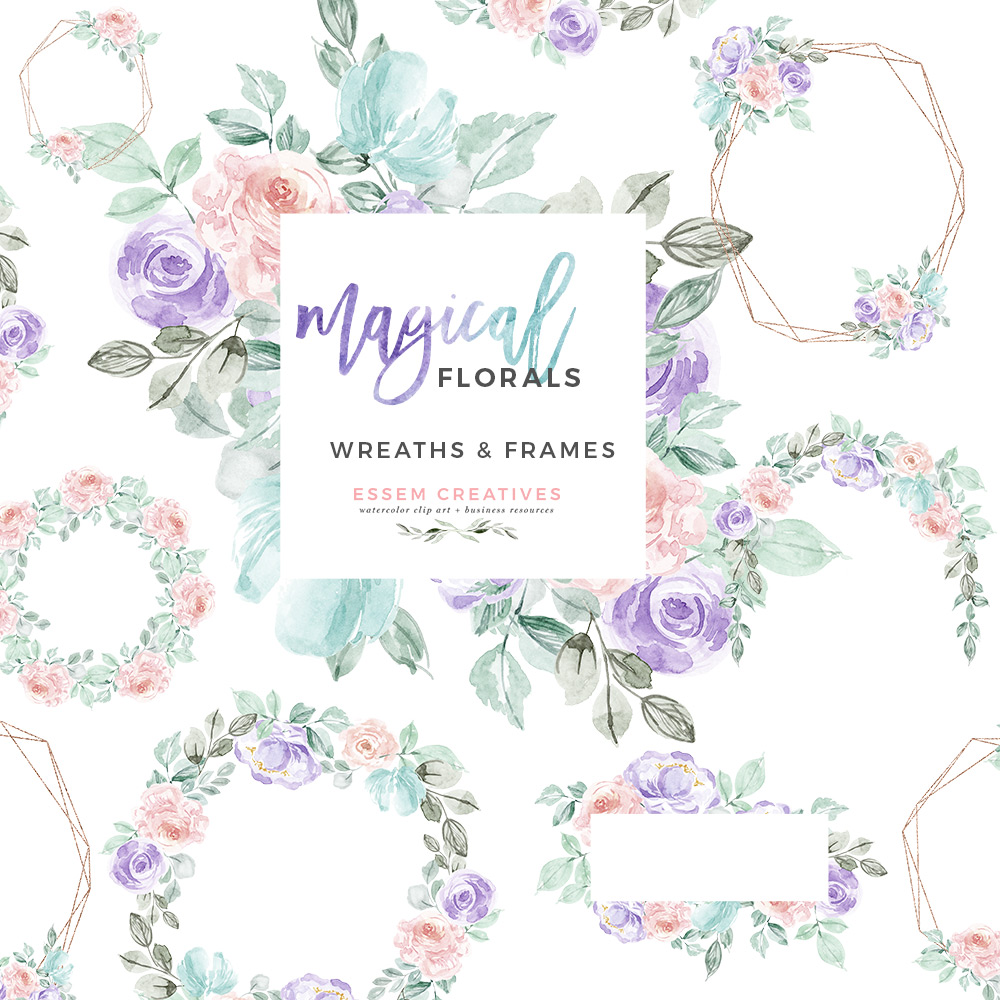 Pink and turquoise wedding bouquet cliparts png library stock Watercolor Winter Floral Wreath Frames Clipart, Unicorn Rainbow Magical  Flowers Graphics PNG Wedding Invitations png library stock