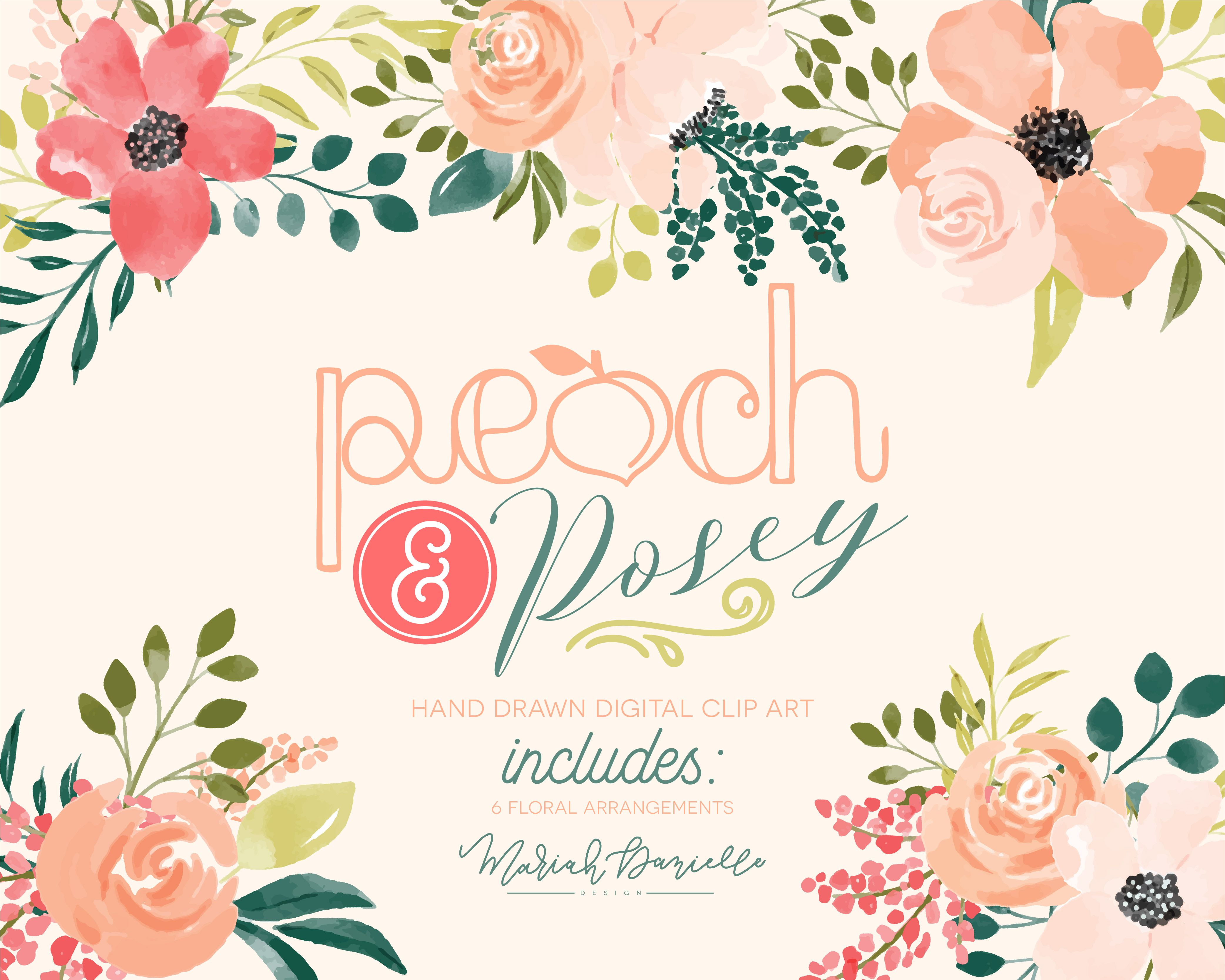 Pink and turquoise wedding bouquet cliparts png library download Peach & Posey Floral Bouquet Set - Illustrations | Hand ... png library download