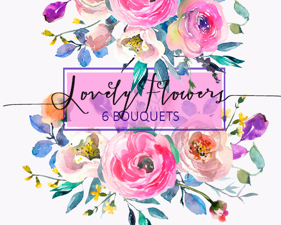 Pink and turquoise wedding bouquet cliparts clip art royalty free library Pink Watercolor Flowers Peonies Clipart Wedding Floral ... clip art royalty free library