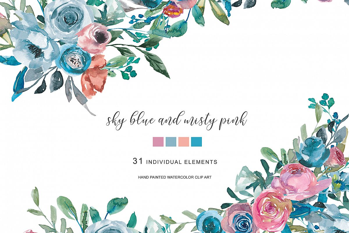 Pink and turquoise wedding bouquet cliparts clipart royalty free download Watercolor Sky Blue & Misty Pink Flowers Clipart clipart royalty free download