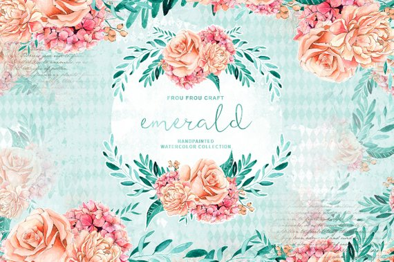 Pink and turquoise wedding bouquet cliparts banner royalty free download Handpainted Floral Clipart, Peach and Mint Wedding Paper ... banner royalty free download