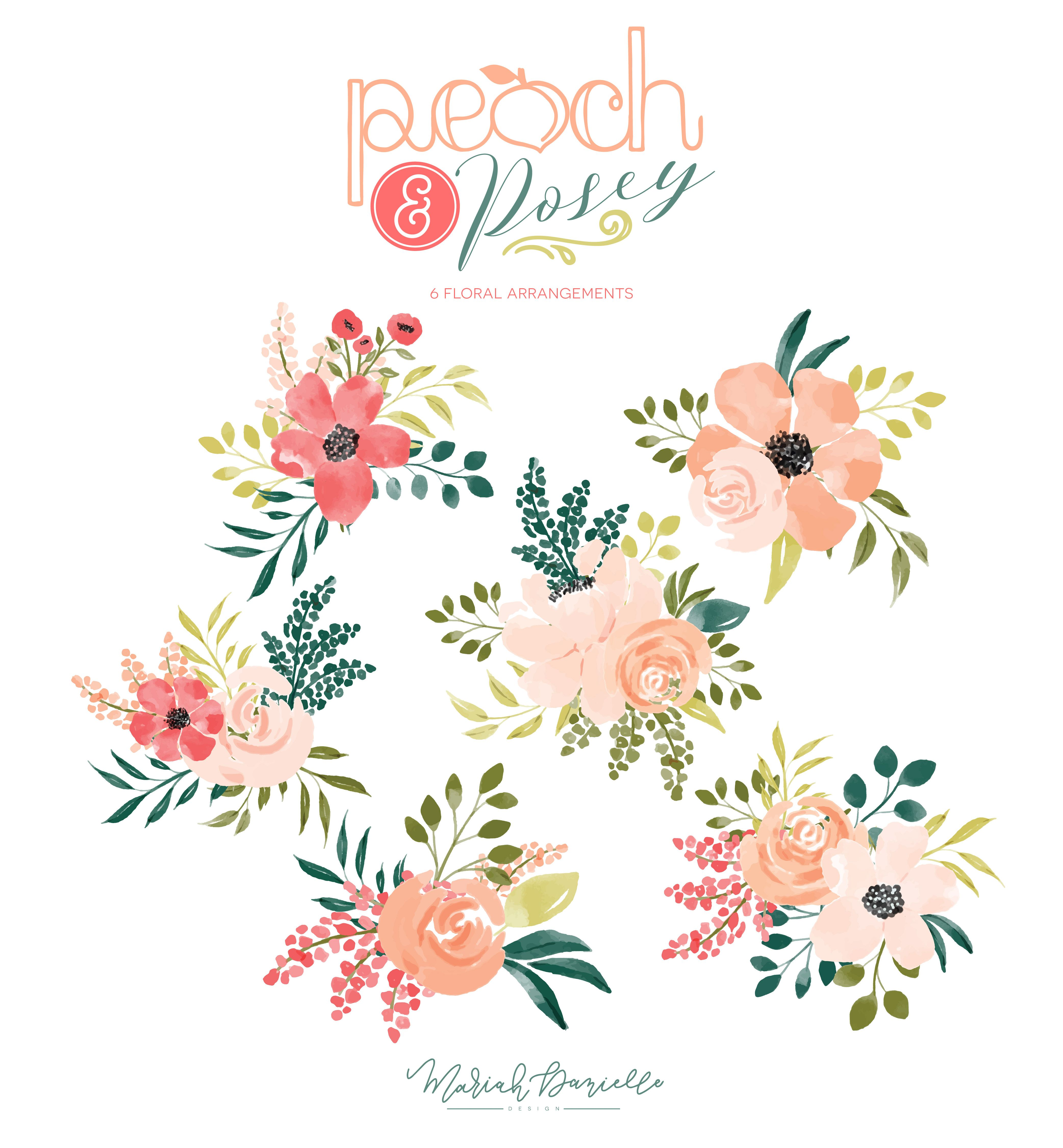 Pink and turquoise wedding bouquet cliparts jpg transparent Peach & Posey Floral Bouquet Set - Illustrations | Hand ... jpg transparent