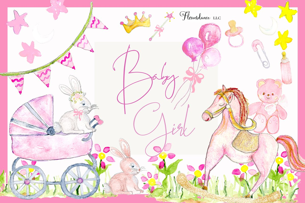 Pink baby clipart svg freeuse stock Girl Baby Shower Clipart | Pink Baby svg freeuse stock