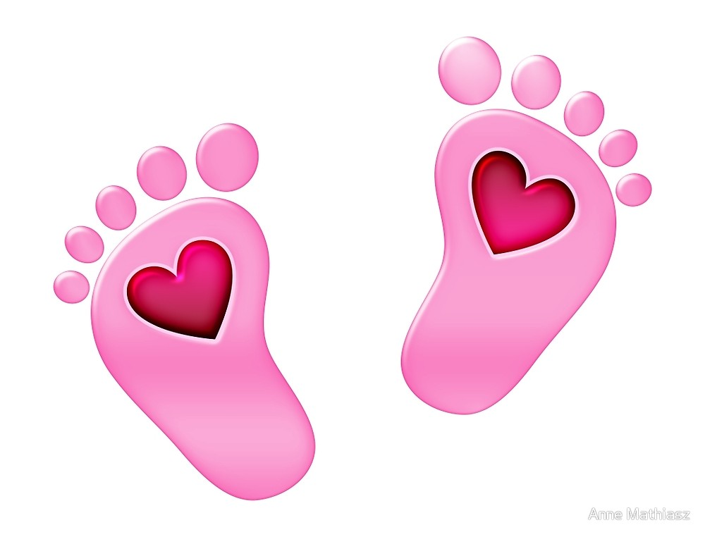 Pink baby feet and heart clipart svg black and white Baby feet with heart\