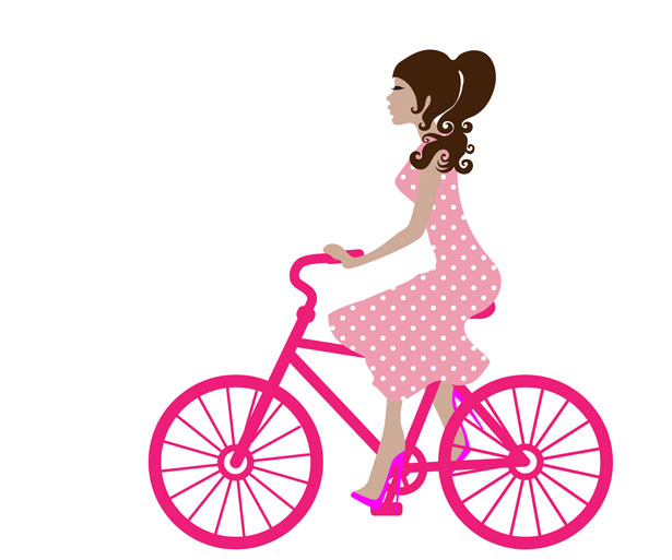 Pink bike clipart picture free library Girl On Bike Clipart Free Stock Photo - Public Domain Pictures picture free library