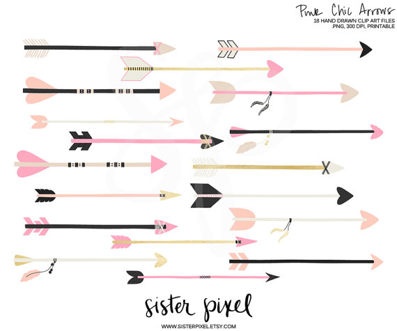 Pink black arrow clipart transparent stock Gold & Black Arrows Clip Art transparent stock