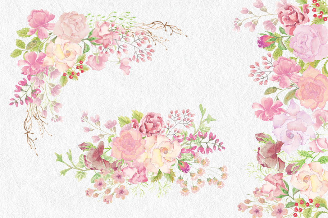 Pink blush clipart clipart royalty free stock Wedding clip art bundle: blush roses clipart royalty free stock