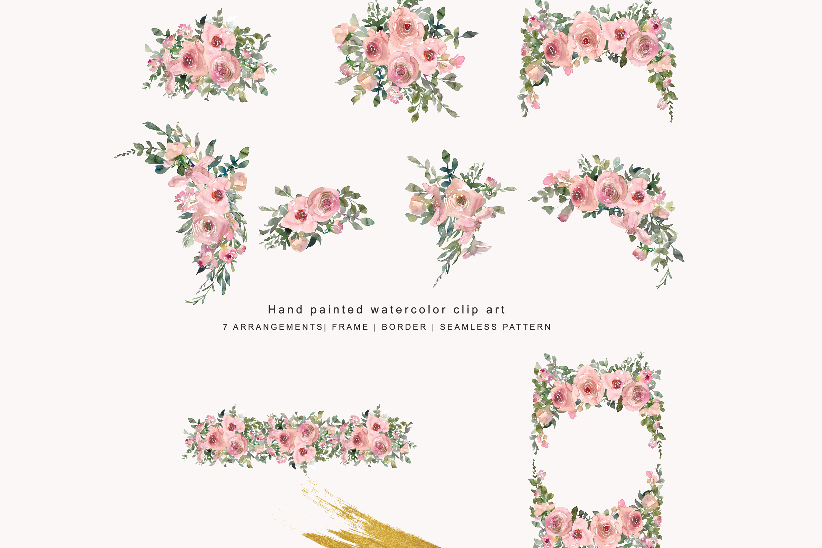 Pink blush clipart image library Watercolor Pink Blush Floral Clipart - Arrangements image library