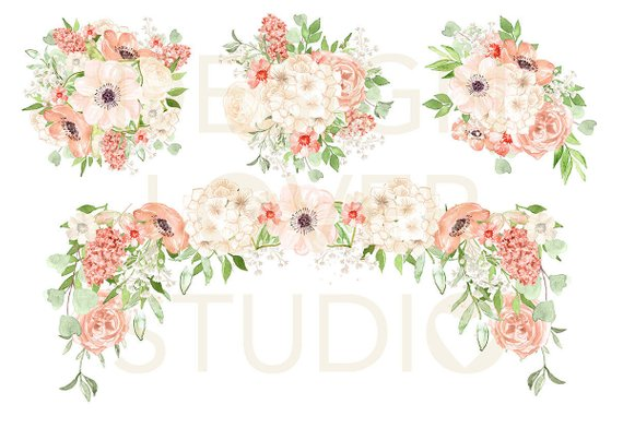 Pink blush clipart png download Watercolor PEACH ROMANCE design, spring watercolor flower ... png download