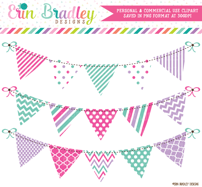 Pink bunting clipart image library Pink Purple Blue Bunting Clipart image library