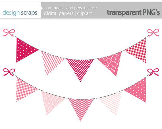 Pink bunting clipart clip library library pink bunting banner clip art flag banner digital by ... clip library library