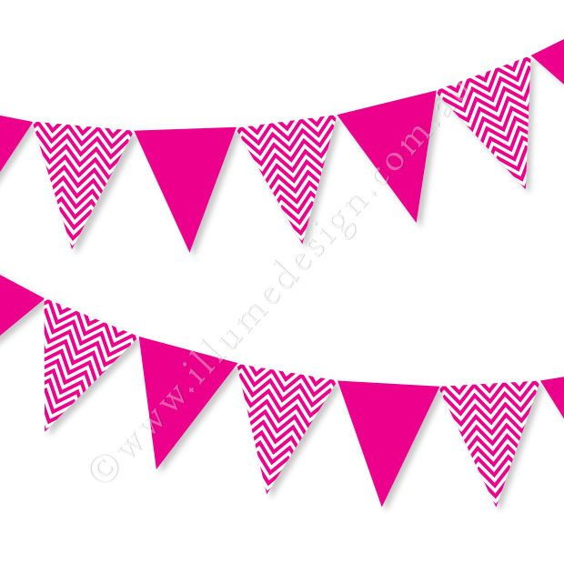 Pink bunting clipart freeuse stock Chevron Hot Pink Bunting freeuse stock