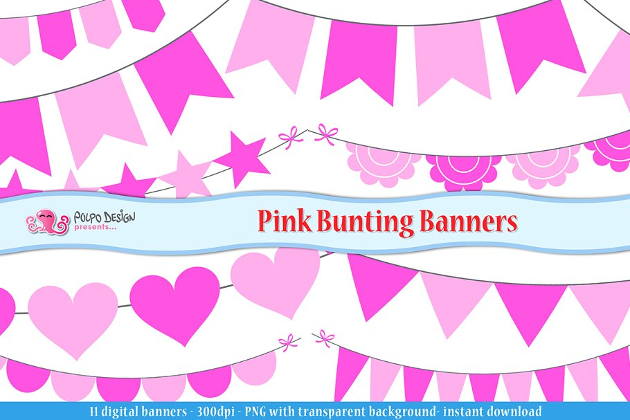 Pink bunting clipart graphic free stock Pink Bunting Banners clipart graphic free stock